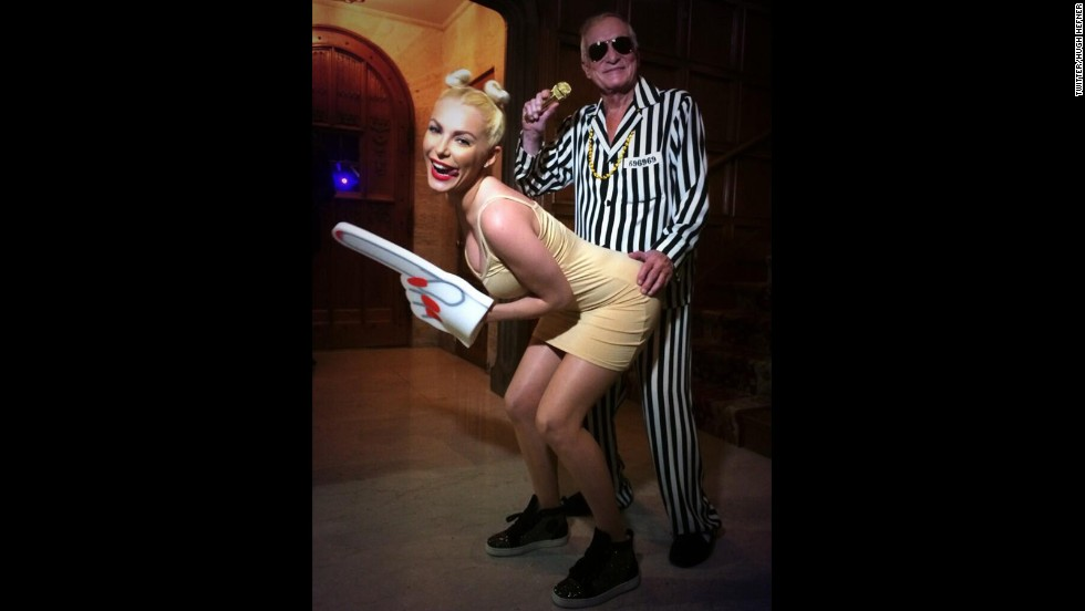 Hugh Hefner gave Paris Hilton a run for her money, though. He and his wife, Crystal Harris, twerked a little harder on their MTV VMAs-inspired costumes.