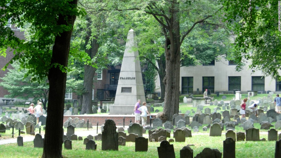Dating back to 1660, this small cemetery holds many Revolutionary War heroes, including Paul Revere, John Hancock and Samuel Adams. Although this monument belongs to Benjamin Franklin's family, Ben's final resting place is in Philadelphia.