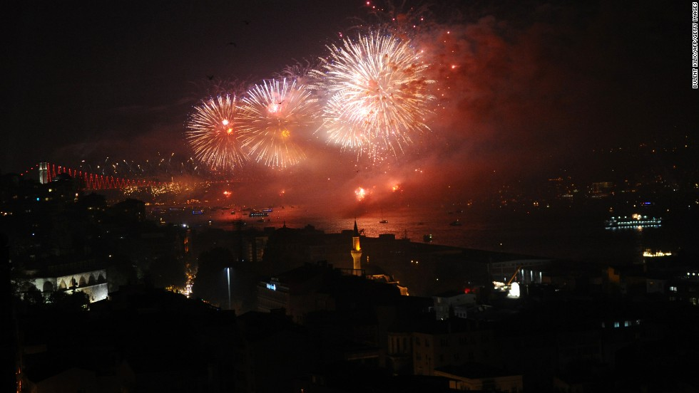 "Fireworks explode above the Bosphorus Strait in Istanbul on Tuesday, October 29, during the anniversary of the declaration of the Turkish Republic. On Tuesday, Turkey formally opened the world's first sea tunnel connecting two continents. The Marmaray <a href=""http://www.cnn.com/2013/10/29/business/marmaray-tunnel-turkey-john-defterios/"">links Istanbul's European and Asian sides</a> under the Bosphorus."