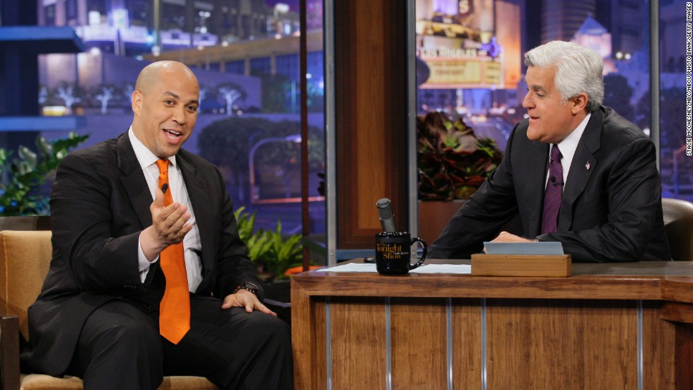 Booker is interviewed by late-night television host Jay Leno in June 2012.