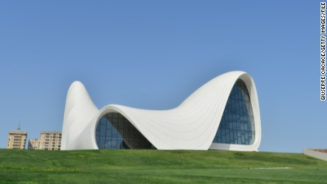 This picture taken on June 4, 2013 shows the Heydar Aliyev Museum in Baku. AFP PHOTO / GIUSEPPE CACACE (Photo credit should read GIUSEPPE CACACE/AFP/Getty Images)