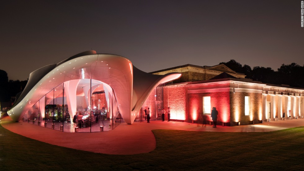 Last month Hadid opened the new Serpentine Sackler Gallery in London's Hyde Park, featuring her distinctive sweeping, space-age roof.