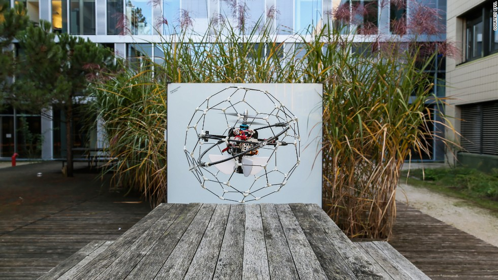 Gimball is a spherical flying robot encased in a flexible cage that allows it to happily smash into surfaces while navigating disaster sites. Unlike other rescue robots, GimBall is able to bounce back without losing its bearings or damaging its in-built camera. Developed by the Swiss Federal Institute of Technology (EPFL), it could be used to search for survivors or measure gas leaks in collapsed buildings.