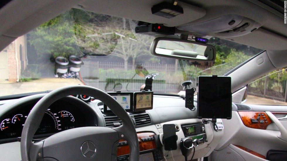 The cockpit of the car was equipped with a slew of countermeasures to prevent getting caught speeding, including laser jammers; radar detectors and a switch to kill the rear lights -- making the car less noticeable at night. They also used GPS systems with traffic alerts and smartphone applications to track traffic and speed traps.