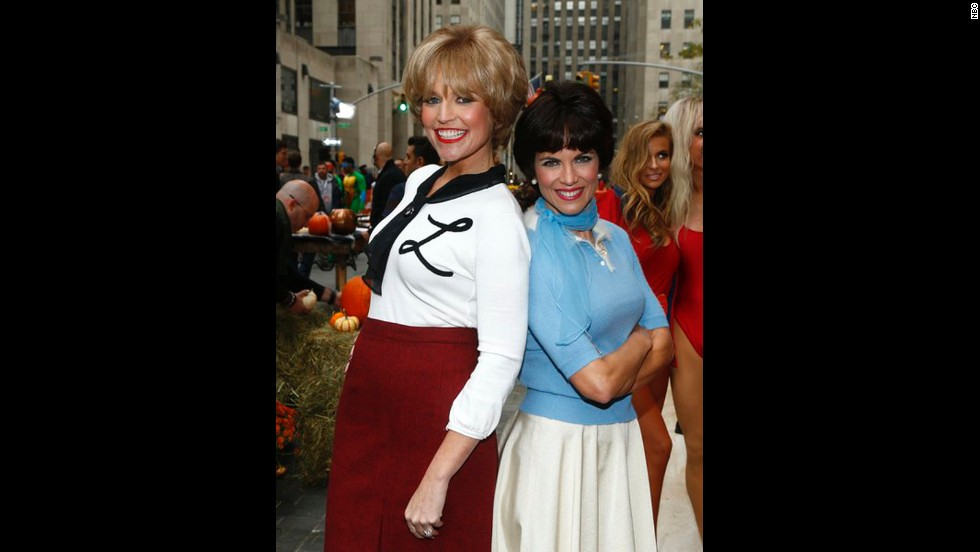 """Today's"" Savannah Guthrie and Natalie Morales transformed into classic TV characters Laverne and Shirley for Halloween 2013."