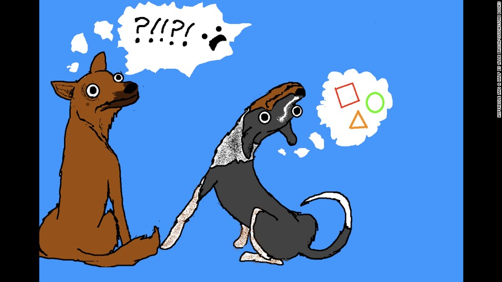 """Brosh's dogs, a neurotic shepherd mix she refers to as the """"helper dog"""" and a blissfully stupid mutt she refers to as the """"simple dog,"""" appear often in her comic, including this illustration from the post, <a href=""""http://hyperboleandahalf.blogspot.com/2010/11/dogs-dont-understand-basic-concepts.html"""" target=""""_blank"""">""""Dogs Don't Understand Basic Concepts Like Moving.""""</a>"""