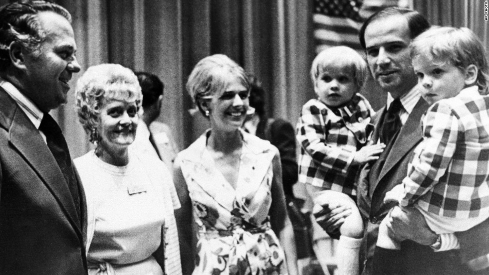 At a convention in 1972, Biden and his first wife, Neilia, and his two sons take a photo with Delaware Gov.-elect Sherman W. Tribbitt and his wife Jeanne. Neilia Biden died in a car accident a few months later, after his first election to the Senate, along with their infant daughter, Naomi.