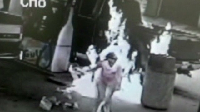 Man Sets Woman On Fire : Cigarette lighter gas pump fire leads to criminal charge