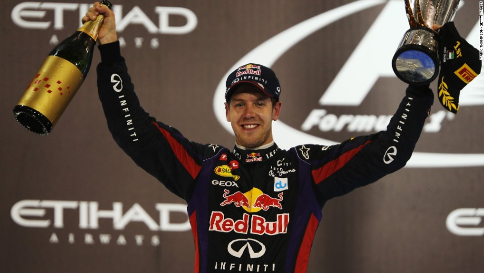 World champion Sebastian Vettel celebrates in Abu Dhabi after winning his 11th race this season, matching his previous best from 2011.