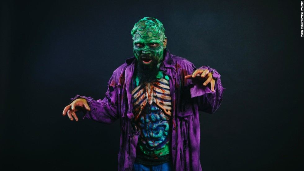 "The event gave people a chance to show off their best costumes. Pictured here is Gilbert Moreno from the interactive horror production ""Atlanta Zombie Apocalypse."""