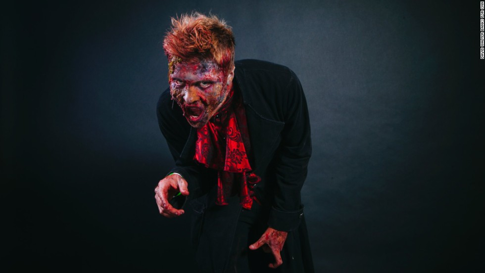 Erik Smoak dressed as a zombie.