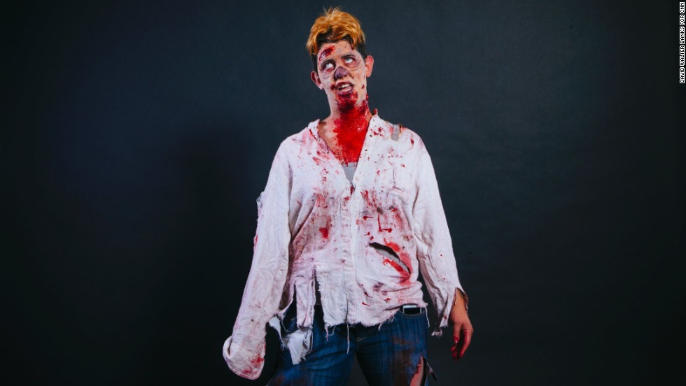 Lindsay Aluaro, from Ontario, Canada, dressed as a zombie.