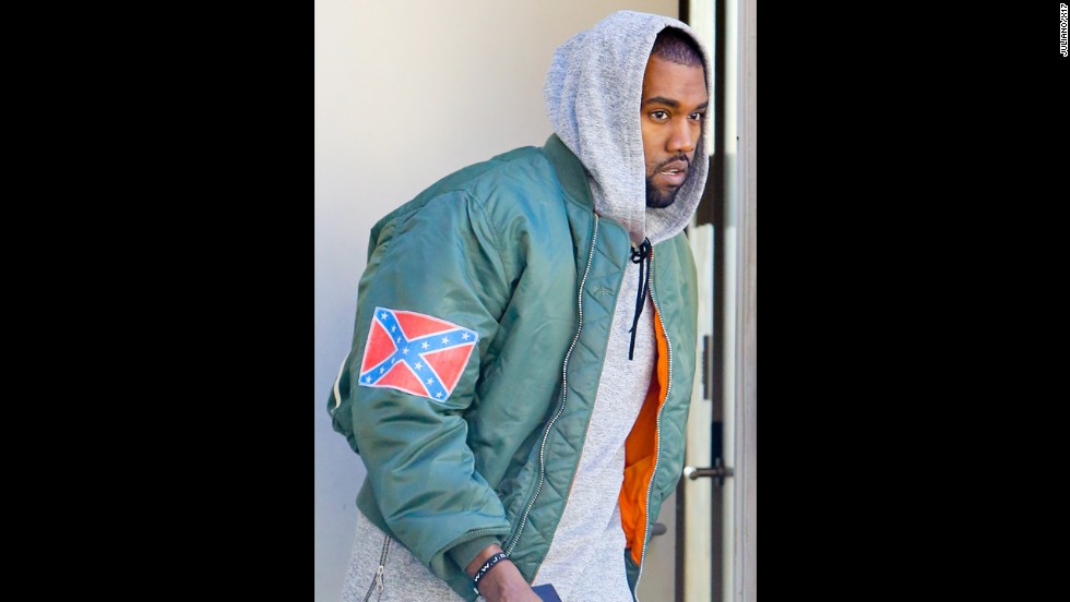 "<strong>November 2013: </strong>Kanye started yet another conversation when he began <a href=""http://www.cnn.com/2013/11/04/us/kanye-west-confederate-flag/index.html"" target=""_blank"">using a Confederate flag on some of his new merchandise</a>. By way of explanation, West told Los Angeles radio station <a href=""http://amp.cbslocal.com/kanye-west-drops-by-97-1-amp-radio/"" target=""_blank"">97.1 AMP</a> that observers can ""react how you want. Any energy is good energy. You know the Confederate flag represented slavery in a way -- that's my abstract take on what I know about it. So I made the song 'New Slaves.' So I took the Confederate flag and made it my flag. It's my flag. Now what are you going to do?"""