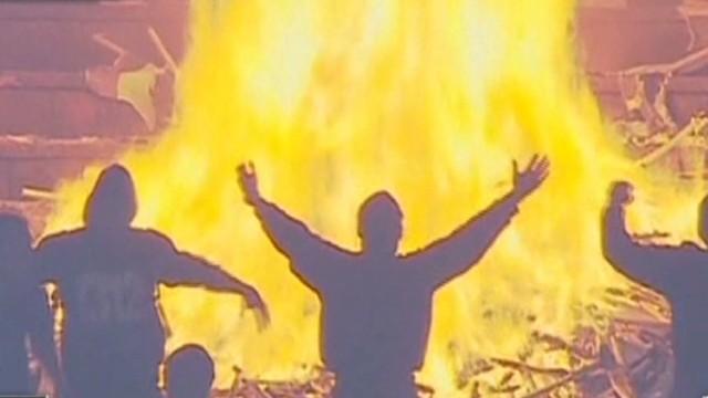 Soccer fans set rival stadium ablaze