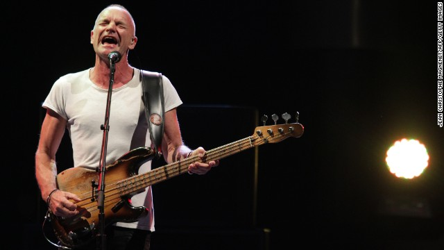 Sting performs during the 53th music festival 'Jazz a Juan', on July 18, 2013 in Juan-les-Pins, southeastern France.