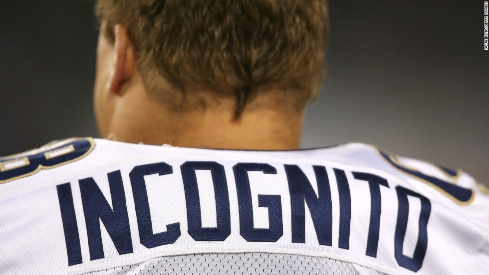 """Incognito stands on the sidelines during a Rams preseason game in August 2008. Several media outlets said Martin had left the Dolphins because of bullying, something Incognito denied on Twitter.<br />""""Shame on you for attaching my name to false speculation,"""" one of the tweets said, according to Bleacher Report. That tweet and others addressed to various media outlets were deleted later."""