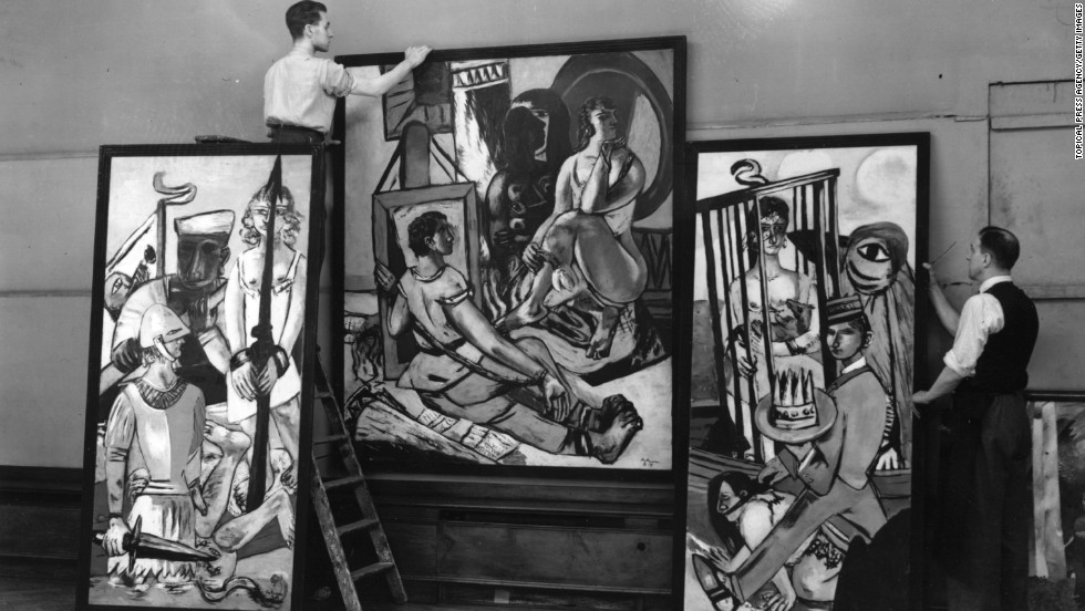 "German Expressionist painter Max Beckmann was among the artists pilloried by Adolf Hitler in the ""Degenerate Art"" exhibition in Munich of 1937. Pictured here is his triptych 'Temptation' during a 1938 exhibition in London, which featured most of the artists ridiculed by Hitler."