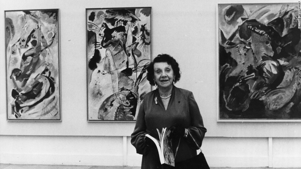 Nina Kandinsky, wife of the abstract painter Wassily Kandinsky, at an exhibition of her husband's work in Munich in 1976. His abstract work was considered unacceptable in Nazi Germany.