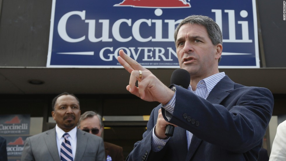 Cuccinelli speaks during a rally at Republican headquarters in Charlottesville, Virginia.