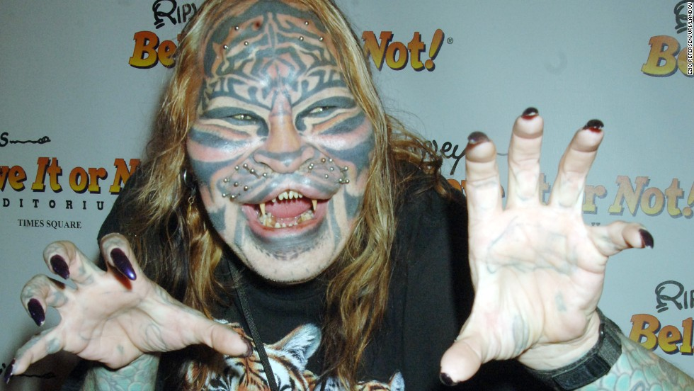 "Dennis Avner, aka ""Cat Man,"" arrives at a 2007 party for ""Ripley's Believe It Or Not Odditorium"" in New York. Avner died last year of an apparent suicide."