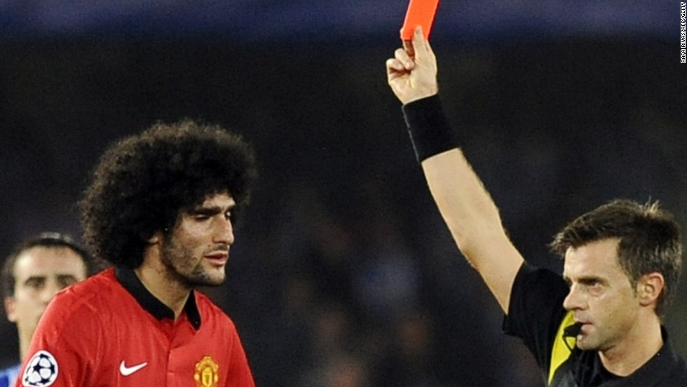 Marouane Felliani is sent off during Manchester United's disappointing goalless draw at Real Socieadad.