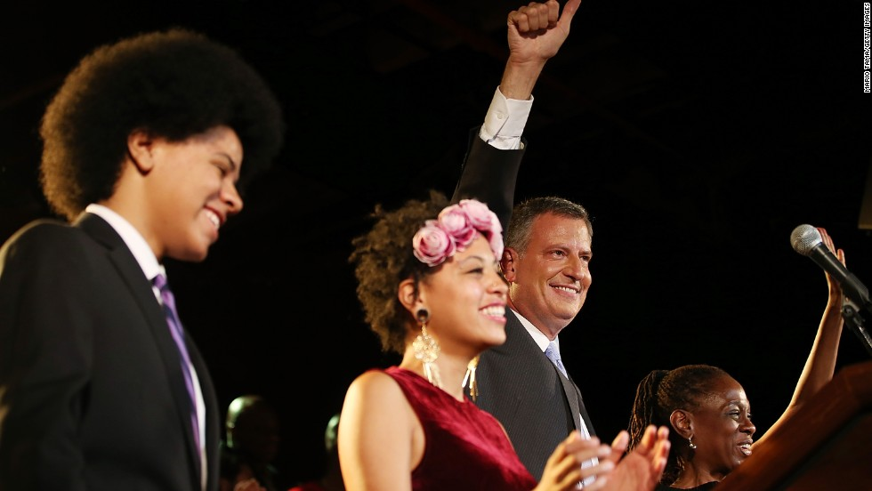 De Blasio and his family address the crowd at his primary night party on September 11. De Blasio has been the city's public advocate since 2010. He managed Hillary Clinton's first U.S. Senate bid in 2000 and served on the City Council for eight years.