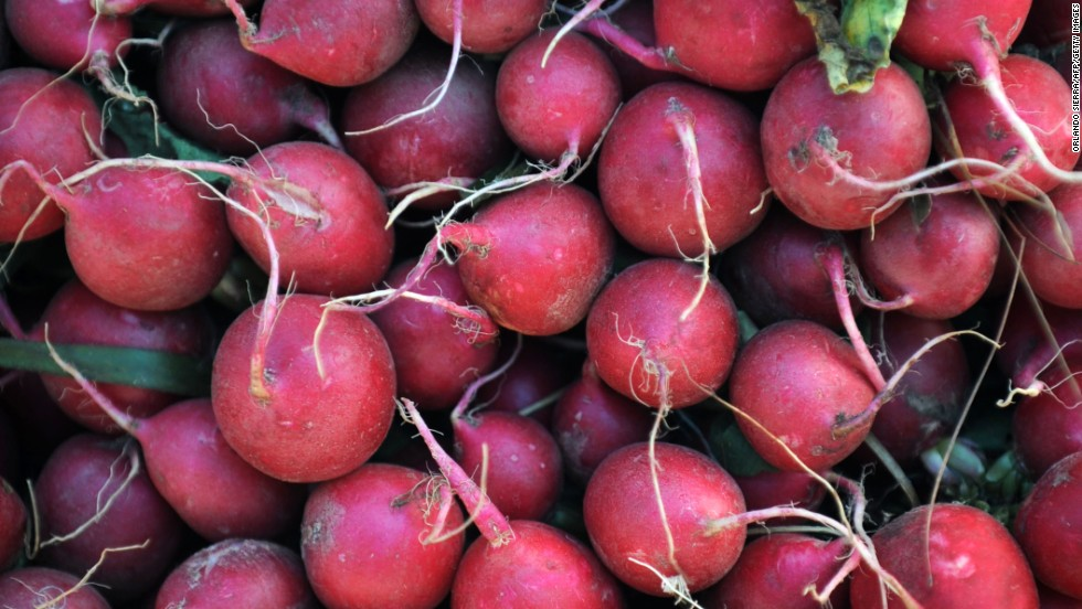 <strong>Radishes</strong><br />Water content: 95.3%<br /><br />These refreshing root vegetables should be a fixture in your spring and summer salads. They provide a burst of spicy-sweet flavor—and color!—in a small package, and more importantly they're filled with antioxidants such as catechin (also found in green tea).<br /> <br />A crunchy texture also makes radishes a perfect addition to healthy summer coleslaw—no mayo required. Slice them up with shredded cabbage and carrots, sliced snow peas, and chopped hazelnuts and parsley, and toss with poppy seeds, lemon juice, olive oil, salt, and pepper.<br /><br />