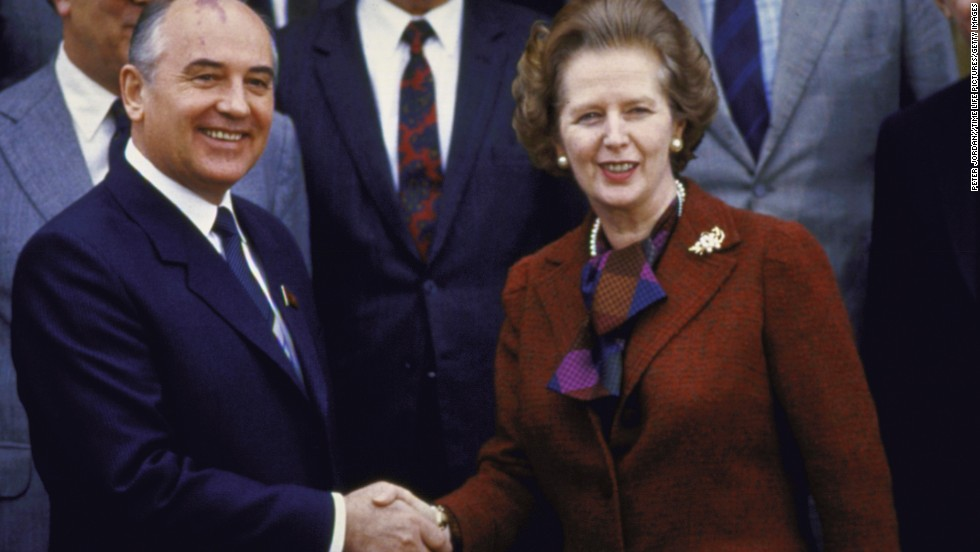 Gorbachev and British Prime Minister Margaret Thatcher in England in 1984.