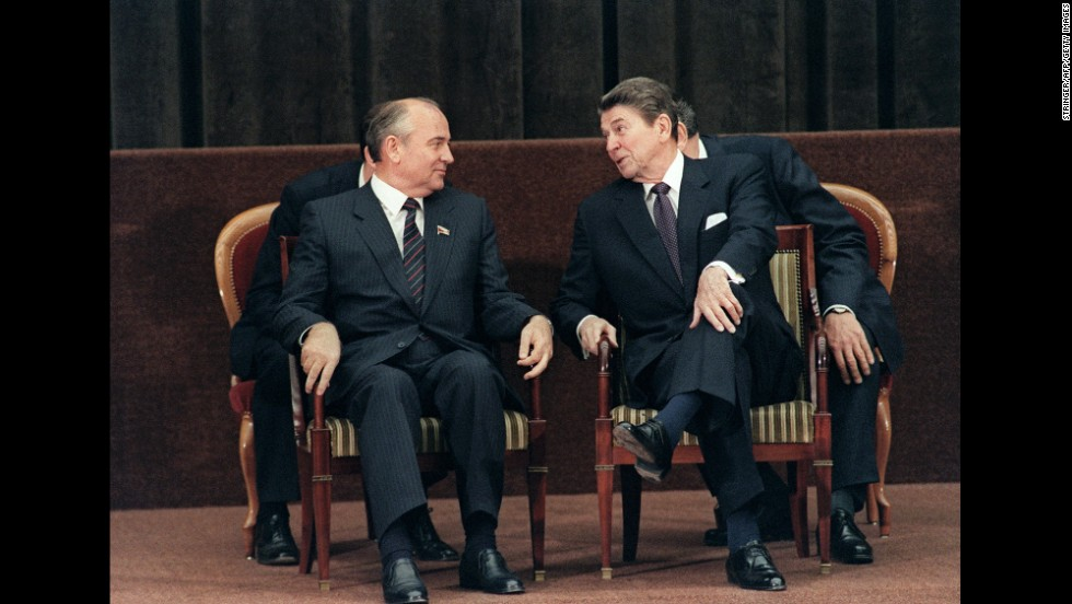 President Ronald Reagan talks with Gorbachev during a two-day summit between the United States and the Soviet Union in Geneva in 1985.