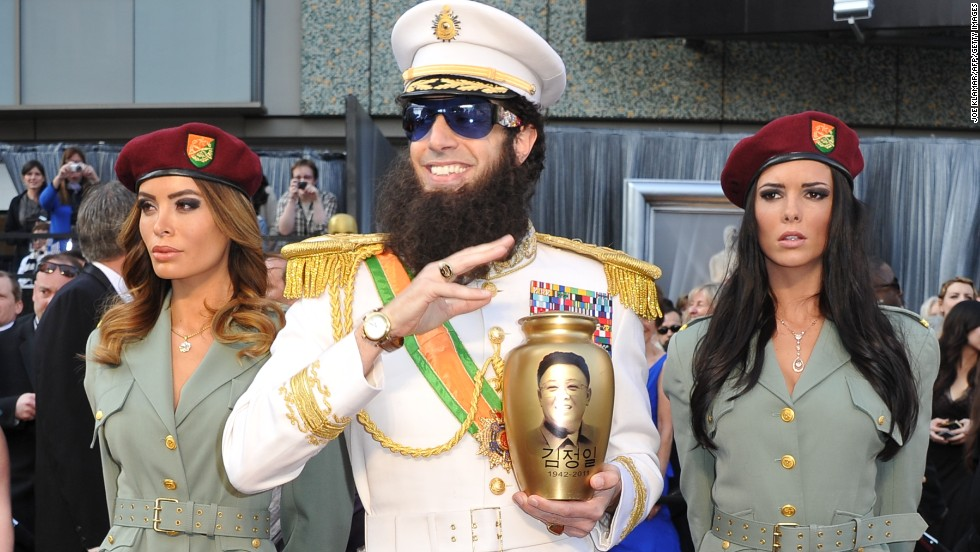 "Sacha Baron Cohen was dressed in his role of the Dictator on the red carpet for the Academy Awards in 2012, when he <a href=""http://www.youtube.com/watch?v=mhAg0COnqds"" target=""_blank"">spilled ashes on Ryan Seacrest. </a>"