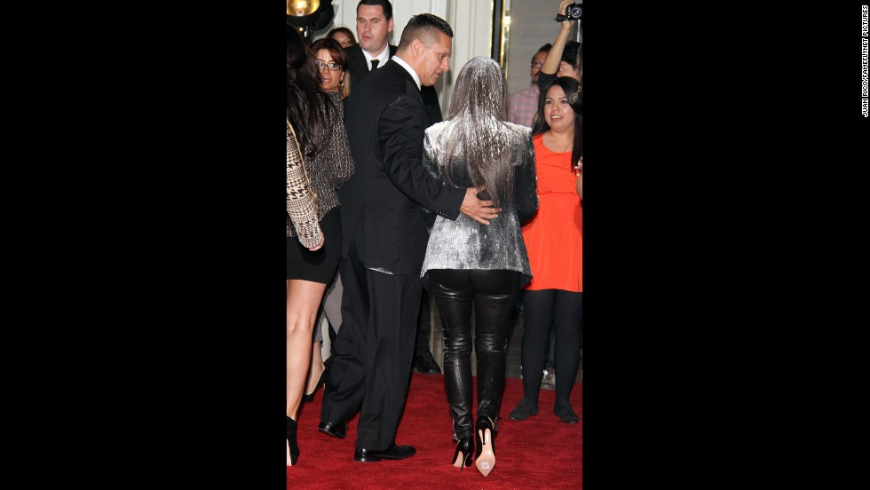 Kim Kardashian was doused with cooking flour on the red carpet before launching her fragrance True Reflection at the London Hotel in West Hollywood in 2012.