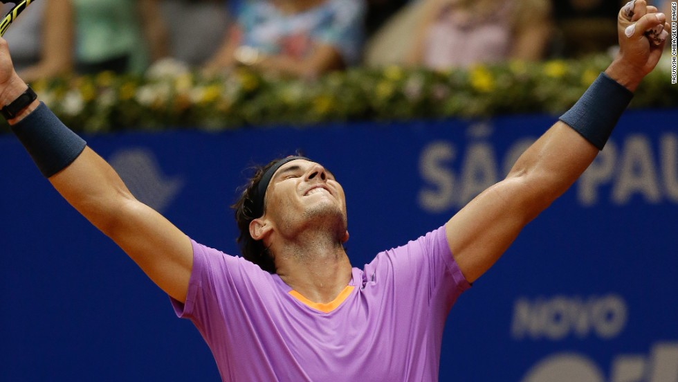 Days after losing in Chile, Nadal was able to celebrate his first trophy since winning the 2012 French Open. Playing on his preferred clay surface in Brazil, he beat Zeballos' compatriot David Nalbandian to begin his march back to the top of the rankings.
