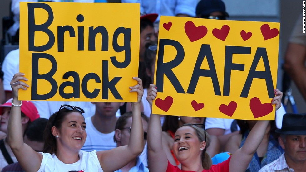 Despite his six-month absence because of a knee injury, Rafael Nadal was at the forefront of some supporters' minds when the 2013 Australian Open took place without him. The Spaniard's withdrawal meant he had dropped out of the top four for the first time since 2005.