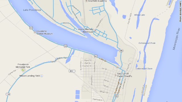The poorer side of Lake Providence, Louisiana, south of the lake, does not appear in Google Street View.