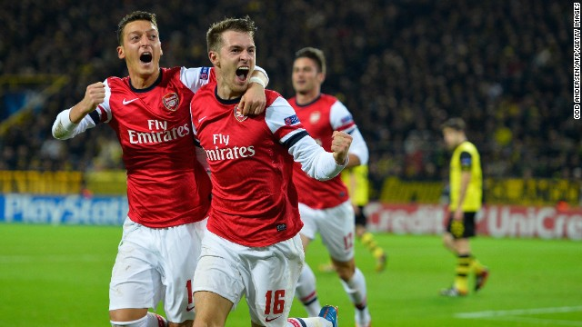 Aaron Ramsey was on target for Arsenal in their Champions League clash at Borussia Dortmund.