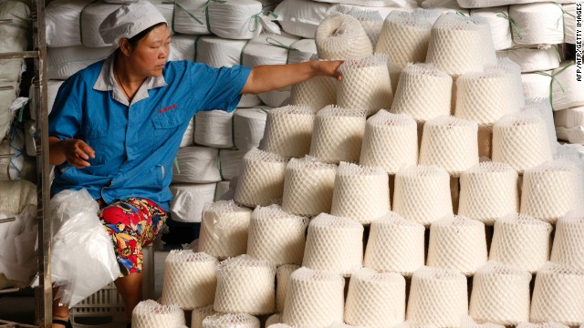 A woman at work in a textile factory in east China's Anhui province.