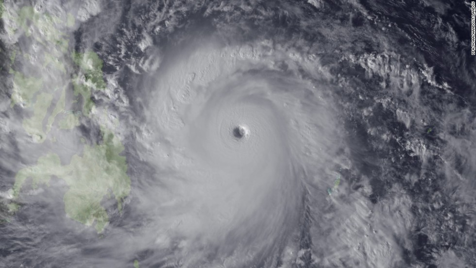 The storm approaches the Philippines in this satellite image taken Thursday, November 7, by the National Oceanic and Atmospheric Administration.