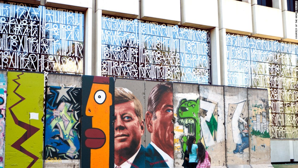 A 25-ton, 10-segment section of the Wall stands in front of the Variety Building on Wilshire Boulevard in Los Angeles. It's the longest stretch of Berlin Wall in the United States.