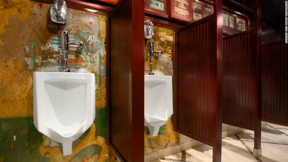 A men's rooms at this Las Vegas casino has been home to a portion of the Berlin Wall for about 20 years. Three urinals are mounted onto the graffiti-bearing concrete slab. The wall itself is protected by glass.