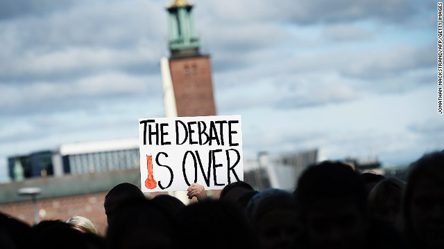 Protests outside the U.N. Intergovernmental Panel on Climate Change (IPCC) demand political action on September 27 in Stockholm.