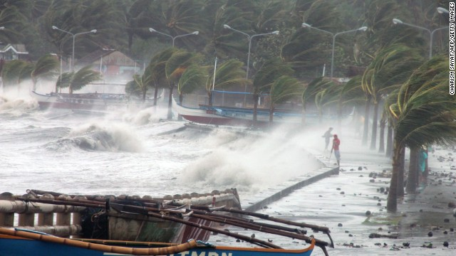 Typhoon Haiyan hit the city of Legaspi, Albay province, south of Manila on November 8, 2013.