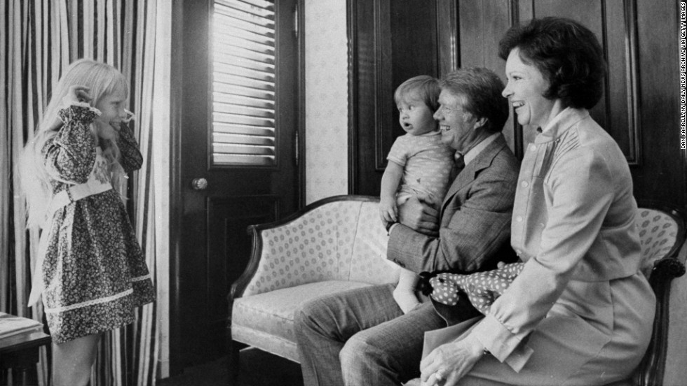 Former President Jimmy Carter spends time with his grandson Jason, wife Rosalynn, and daughter Amy on July 15, 1976. Jason Carter was a Democratic member of the Georgia State Senate.