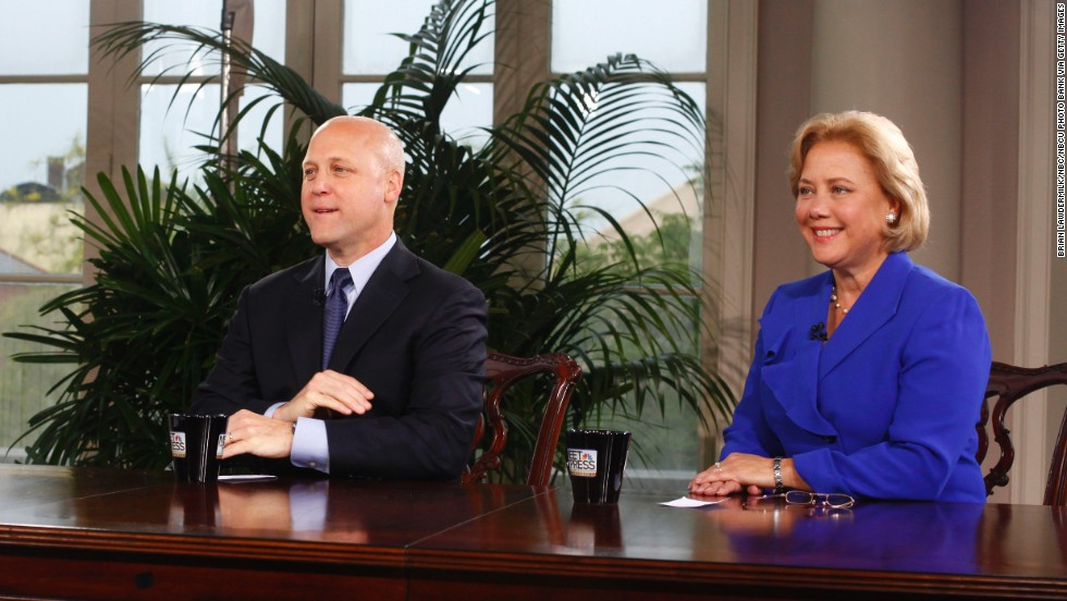 "New Orleans Mayor Mitch Landrieu and his sister, Louisiana Sen. Mary Landrieu, are interviewed during a special edition of ""Meet The Press"" in New Orleans on August 29, 2010."