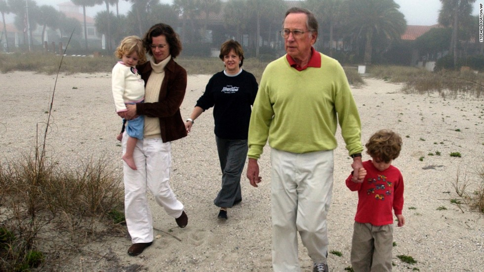 Former Sen. Sam Nunn, his wife Colleen, daughter Michelle, and his grandchildren Vinson and Elizabeth, left, walk the beach at Sea Island, Georgia, on January 4, 2007. Michelle Nunn was a candidate for Georgia's Senate seat in 2014.