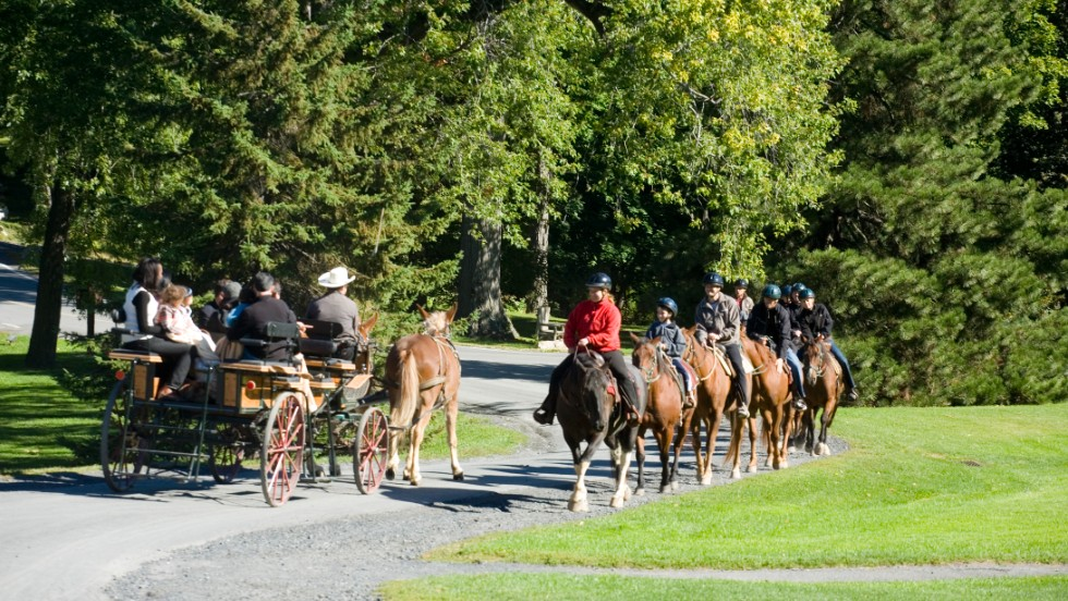 Mohonk Mountain House in New York's Hudson Valley keeps guests busy with activities including hiking, skating, cross-country skiing and carriage rides along Mohonk Mountain.