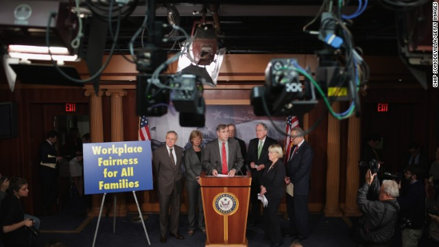 Senate Democrats speak before the final passage of the Employment Non-Discrimination Act on November 7.