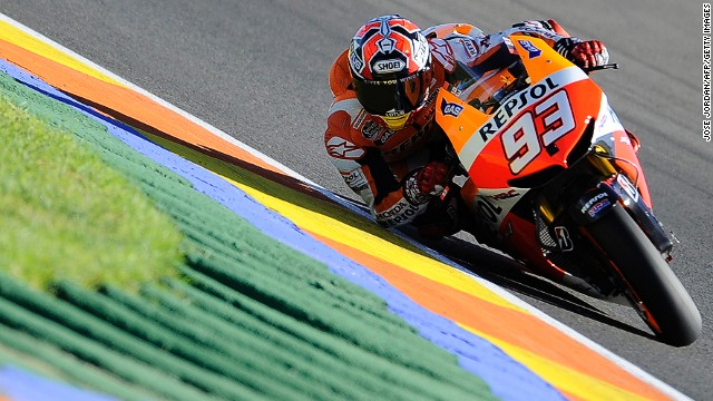 Spain's Marc Marquez is looking to cap an incredible rookie season in MotoGP.