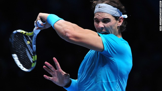 Rafael Nadal slams another forehand on his way to beating Roger Federer at the O2 Arena on Saturday.