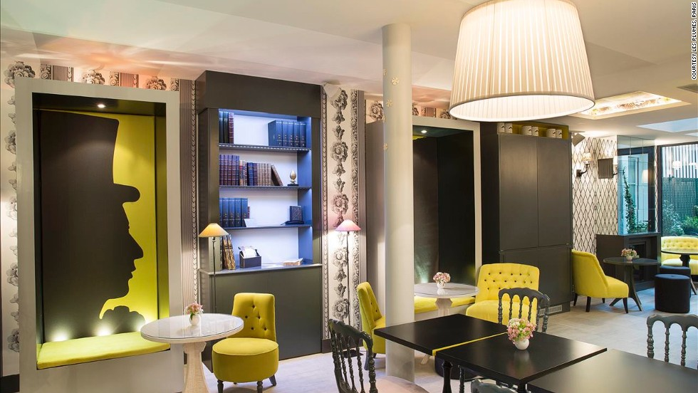 The literary theme of this Parisian hotel was inspired by its location -- a district dotted with the former homes of renowned literary writers such as Victor Hugo, Paul Verlaine and Arthur Rimbaud.