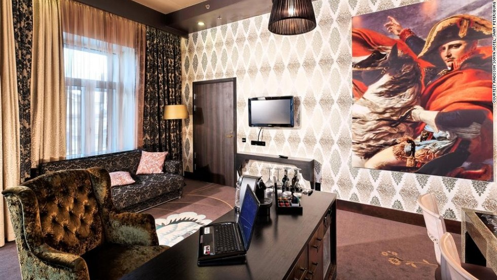 "Inspired by Dostoyevsky's ""Crime and Punishment,"" the two suites in the Radisson Sonya Hotel are named Rebirth and Ego and the pattern of the carpets contains the initial passages of the novel in both English and Russian."